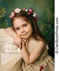 ritratto, elegante, ragazza, giovane, dolce