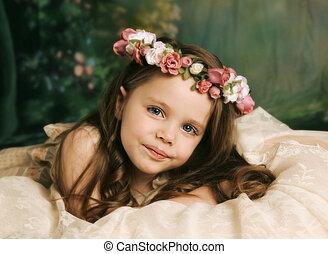 ritratto, elegante, ragazza, giovane, splendido