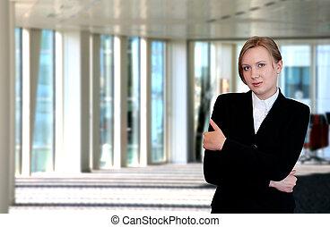 ritratto, esecutivo, femmina, ufficio