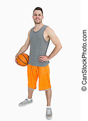 ritratto, felice, uomo, pallacanestro, giovane