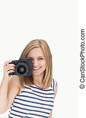 ritratto, femmina, macchina fotografica, fotografico, giovane, felice