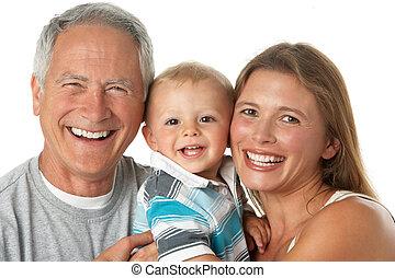 ritratto, figlia, nipote, nonno