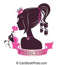 ritratto, fiore, principessa