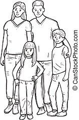 ritratto, foto, famiglia, piena lunghezza