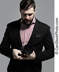 ritratto, fotografo, professionale, macchina fotografica, completo
