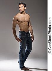 ritratto, giovane, muscolare, uomo