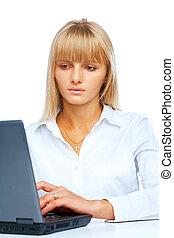 ritratto, laptop, donna, lavorativo