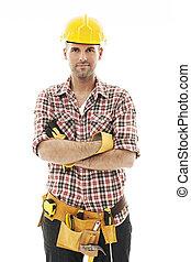 ritratto, lavoratore costruzione, bello