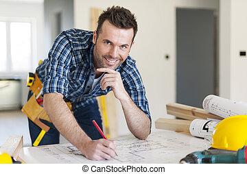 ritratto, lavoratore costruzione, progetti