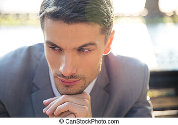 ritratto, malinconico, uomo affari
