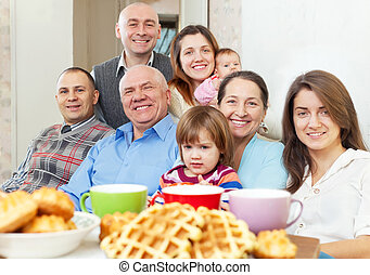 ritratto, multigeneration, famiglia, felice