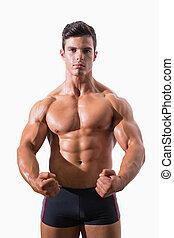 ritratto, muscolare, serraggio, uomo, pugni