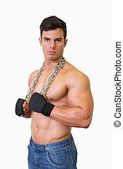 ritratto, muscolare, shirtless, uomo, serio, giovane