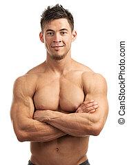 ritratto, muscolare, uomo, giovane, bello
