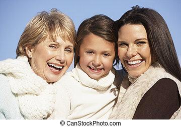 ritratto, nonna, figlia, madre