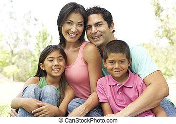 ritratto, parco, giovane famiglia