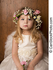 ritratto, piccola ragazza, ali angelo