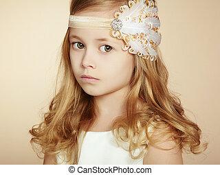 ritratto, piccola ragazza, carino