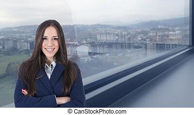 ritratto, professionale, donna affari