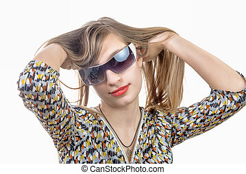 ritratto, ragazza adolescente, occhiali