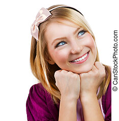 ritratto, ragazza adolescente, studente