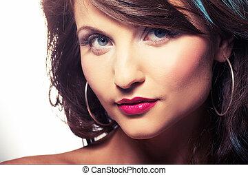 ritratto ragazza, con, rosso, lipstic