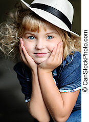 ritratto, ragazza, moda, bellezza, bambino