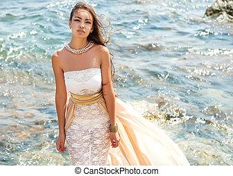 ritratto, ragazza, moda, mare