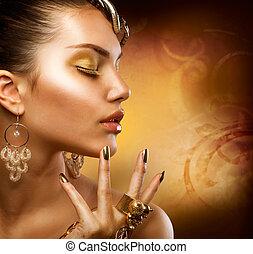 ritratto, ragazza, moda, oro, makeup.