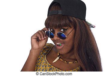 ritratto, ragazza, occhiali da sole, adolescente, ribelle