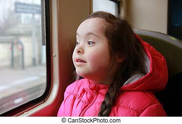 ritratto, ragazza, treno