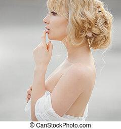 ritratto, romantico, bianco, biondo, vestire, donna