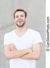 ritratto, sexy, non rasato, style., hairstyle., casuale, maschio, charisma., faccia, suo, tipo, allegro, fashion., macho, possible., fare, elegante, barbuto, attractiveness., giovane, grigio, fondo., estate, esso