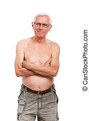 ritratto, shirtless, uomo senior