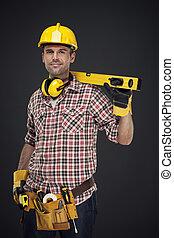 ritratto, sorridente, lavoratore costruzione