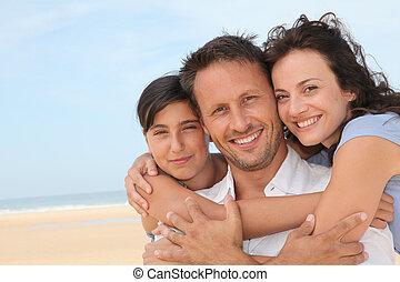 ritratto, spiaggia, famiglia, felice