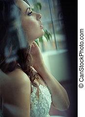 ritratto, sposa, profilo, delizioso