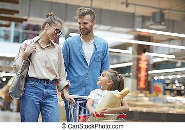 ritratto, supermercato, famiglia, felice