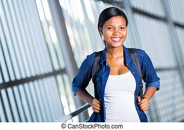 ritratto, università, studente femmina, africano