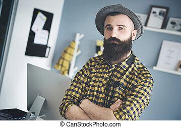 ritratto, uomo, giovane, affari, barba