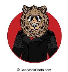 ritratto, vettore, illustrazione, orso