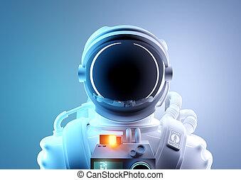 ritratto, viaggiare, futuro, astronauta, spazio