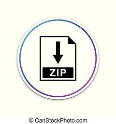 ritssluiting, bestand, document, icon., downloaden, ritssluiting, knoop, pictogram, vrijstaand, op wit, achtergrond., cirkel, witte , button., vector, illustratie