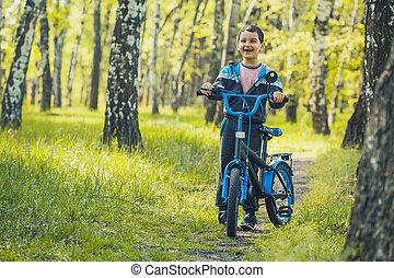 ritten, berg, fietser, geitje, vrolijke , bike., bos