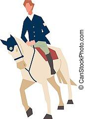 ritten, karakter, man, horse., cowboy, rijden