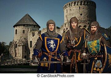 ritter, mittelalterlich, castle., gegen, drei