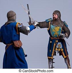 ritter, mittelalterlich, fighting., zwei