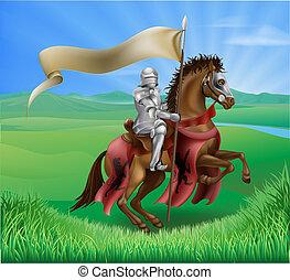 ritter, pferd, feld