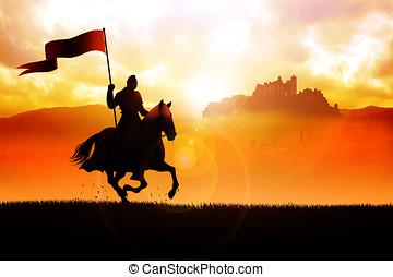 ritter, pferd, tragenden kennzeichen, mittelalterlich