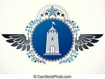 ritterwappen, geflügelt, emblem, freigestellt, vektor, abbildung, dekoriert, gebrauchend, fünfeckig, sternen, und, mittelalterlich, castle.